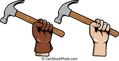 saisir, marteau, main