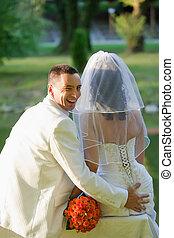 saisir, palefrenier, mariée, fesses