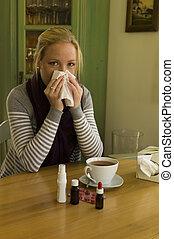 saison, a, femme, grippe, cold.