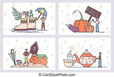 saison, automne, vecteur, ferme, umbrella., bottes, posters., thé, récolte, pluie, pot, vegetables., chaud