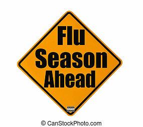 saison, avertissement, grippe, signe