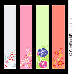 saison, bannières, japonaise
