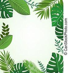 saison, cadre, exotique, arrière-plan., vecteur, floral, feuilles