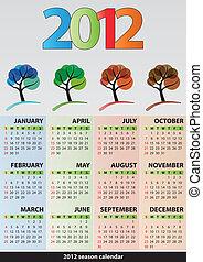 saison, calendrier, arbre, 2012