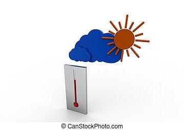 saison, chaud, thermomètre
