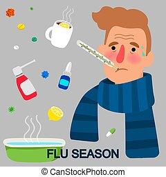 saison, concept, grippe, dessin animé