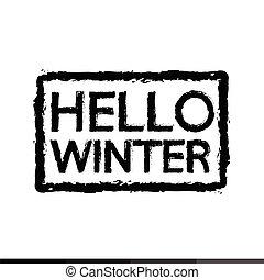 saison, conception, bonjour, illustration, hiver