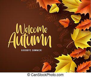 saison, feuilles, accueil, chêne, salutation, automne, arrière-plan., vecteur, texte, érable