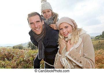 saison, heureux, closeup, famille, automne