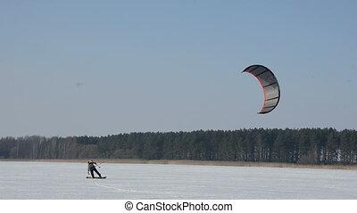 saison, kiting, hiver, neige