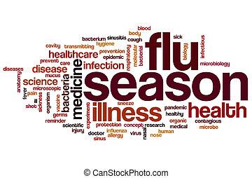 saison, mot, grippe, nuage