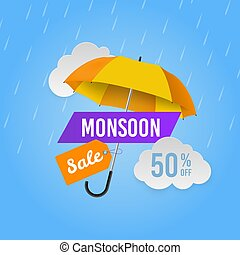 saison, offres, magasin, promotionnel, mousson, parapluie,...