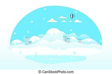 saison, paysage hiver, illustration, vecteur
