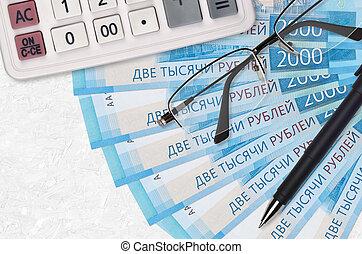 saison, pen., business, ou, ventilateur, calculatrice, prêt, 2000, factures, impôt, rubles, paiement, lunettes, russe, concept