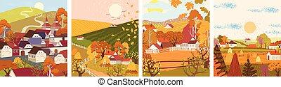 saison, plat, ville, village, automne, dessin animé, ensemble