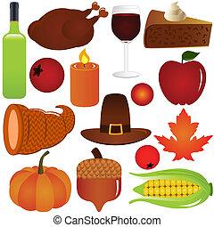 saison, thanksgiving, vecteur, automne