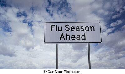 saison, timelapse, grippe, devant, signe