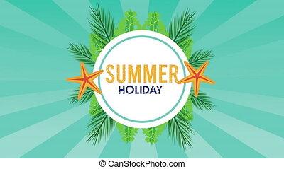 saison, vacances, armature circulaire, etoile mer, été