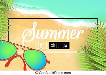 saisonnier, été, discounts., arbre., paume, mer, vue., style., spécial, toile, sommet, plat, plage., lunettes soleil, illustration, sale., bannière, dessin animé, waves., feuilles, offer., vecteur