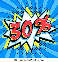 saisonnier, 30, art, vendredi, escomptes, forme, comique, pop-art, bleu, toile, style, banner., cent, tordu, arrière-plan., noir, intérêt, grand, escompte, coup, pop, fermé, trente, comiques, taux, vente, promotion, etc.