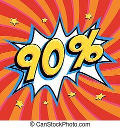 saisonnier, art, vendredi, escomptes, forme, comique, pop-art, toile, style, banner., tordu, arrière-plan., noir, intérêt, rouges, grand, escompte, coup, pop, 90, fermé, comiques, taux, vente, promotion, etc.