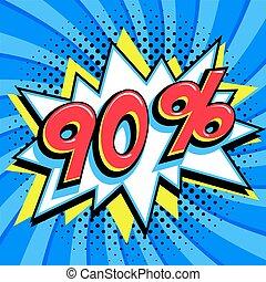 saisonnier, art, vendredi, pop, forme, comique, pop-art, bleu, toile, style, banner., tordu, arrière-plan., noir, intérêt, grand, escompte, coup, escomptes, 90, fermé, comiques, taux, vente, promotion, etc.