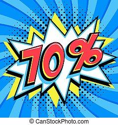 saisonnier, art, vendredi, pop, forme, comique, pop-art, bleu, toile, style, banner., tordu, arrière-plan., noir, intérêt, grand, escompte, coup, escomptes, 70, fermé, comiques, taux, vente, promotion, etc.