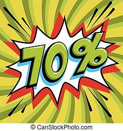 saisonnier, art, vendredi, pop, forme, comique, pop-art, toile, style, banner., tordu, arrière-plan., noir, intérêt, grand, escompte, coup, escomptes, 70, fermé, comiques, taux, vente, vert, promotion, etc.