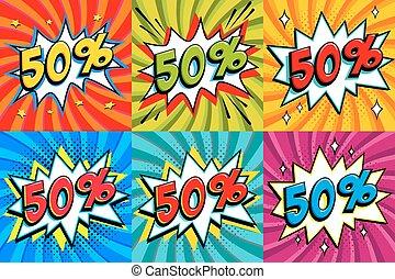 saisonnier, art, vendredi, pop, vente, banners., forme, comique, style, set., cent, arrière-plan., noir, intérêt, escompte, coup, escomptes, fifiy, fermé, comiques, taux, 50, promotion, etc.