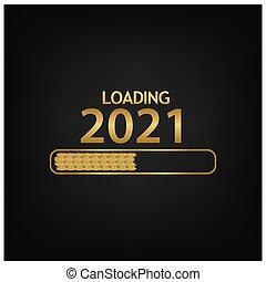 saisonnier, autocollant, card., année, 2020, salutations, fond, 2021, prospectus, nouveau, heureux, ton, bannière