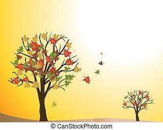 saisonnier, automne, arbre