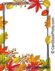saisonnier, automne, rond, bannière