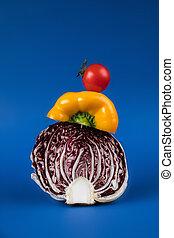 saisonnier, bleu, gros plan, légumes, isolé, frais, vue