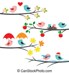 saisonnier, branches, et, oiseaux