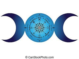 saisonnier, calendrier, déesse, païen, holidays., lune, année, cycle, wicca, festivals., triple, noms, compas, milieu, pentagram, celtique, wiccan, symbole, annuel, roue, solstices