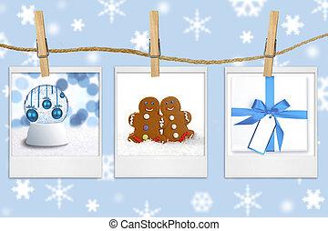 saisonnier, corde, images, vacances, pendre