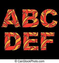 saisonnier, décoratif, d, typescript, floral, alphabet, e, casquettes, modèle, c, a, calligraphic, automne, b, leaves., orange, naturel, décoré, goutte, fleuri, f.