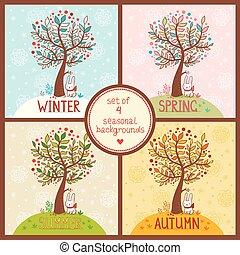 saisonnier, ensemble, arrière-plans, 4, arbre.