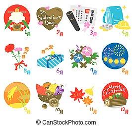 saisonnier, evénements, calendrier, dans, japon, 2