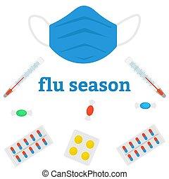 saisonnier, flu., ou, froid, ensemble, images, plat