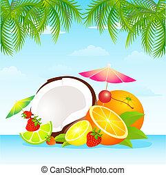 saisonnier, fruit tropical, varié