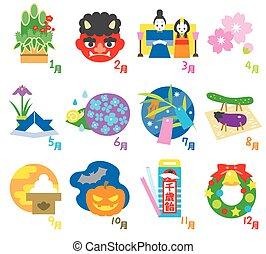 saisonnier, japon, 3, calendrier, evénements