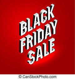 saisonnier, lettrage, isométrique, concept, texte, vendredi, offer., sale., arrière-plan., clair, noir, publicité, panneau affichage, bannière, rouges