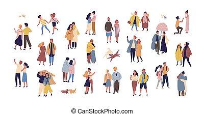 saisonnier, marche, amour, couples, habillé, isolé, arrière-plan., blanc, femmes, plat, coloré, hommes, paquet, collection, rue., date, pendant, dessin animé, romantique, illustration., vecteur, vêtements