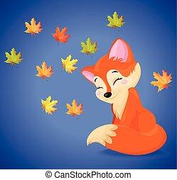saisonnier, mignon, character., renard, automne, vecteur, dessin animé, carte