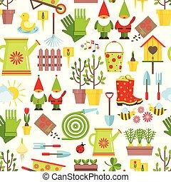 saisonnier, outils, style, jardinage, illustration., plat, printemps, pattern., seamless, symboles, arrière-plan., vecteur, décorations, blanc, dessin animé