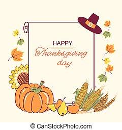 saisonnier, paperl, texte, décoration thanksgiving, fond