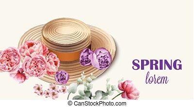 saisonnier, printemps, arrière-plans, vector., fleurs, chapeau, carte