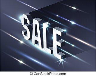 saisonnier, sombre, isométrique, concept, texte, vendredi, offer., métallique, sale., arrière-plan., clair, noir, publicité, panneau affichage, bannière