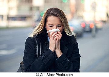 saisonnier, souffler, hiver, elle, femme, nez, froid